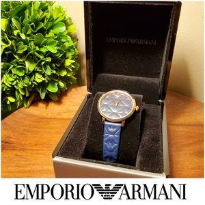 Emporio Armani Modern Slim Rose Gold & Blue Watch